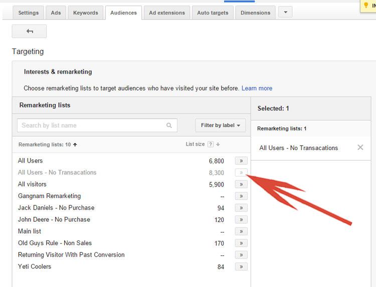 Google AdWords - Selecting A Remarketing List