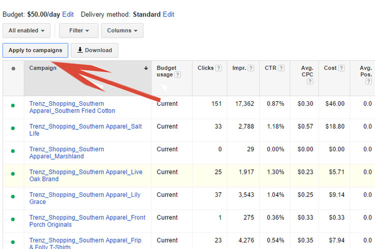 Apply Shared Budget To an AdWords Campaign