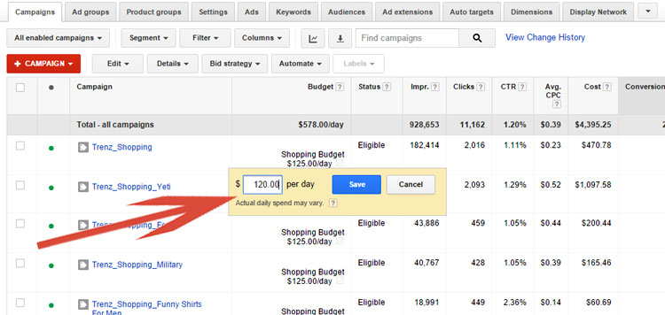 Popup Budget Help Window - Google AdWords
