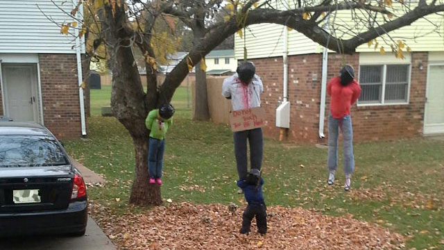 rasist halloween display of black people