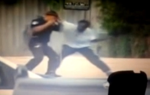 Black Man disarms and Catches Vicious Fade With a Police Officer.