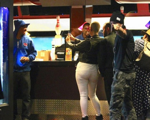 amber rose and nick cannon bowling