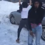 Too Turnt Up SMH: Two Females twerking in the snow, One has a gun.