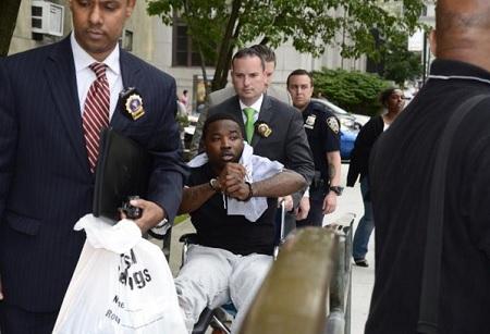 Troy Ave, wheeled into Manhattan Criminal Court