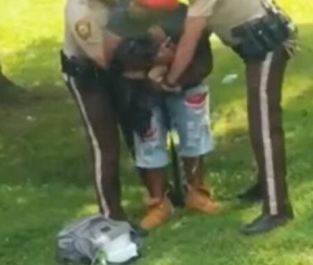 St. Louis officers struggle with a man holding a baby.