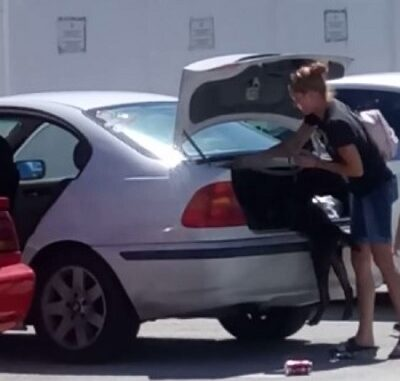 Florida woman arrested for shoving her dog in trunk.