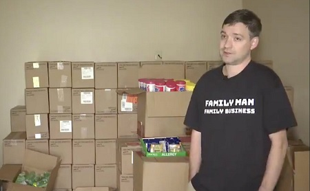 Man brought nearly 18,000 bottles of sanitizer he can't sell.