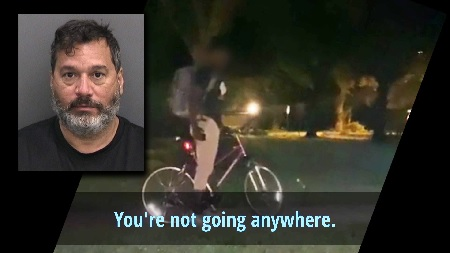 Man illegally detains black teen riding his bike to basketball practice.