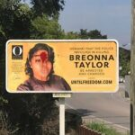 Breonna Taylor Billboard In Kentucky Vandalized With Red Paint Across Her Forehead.