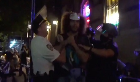 NYPD cops charge at group and diners, arresting people on sidewalk.