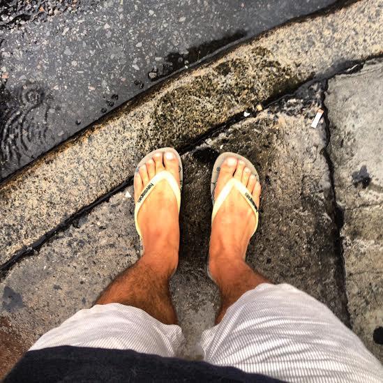 Bart's feet - rain or shine.