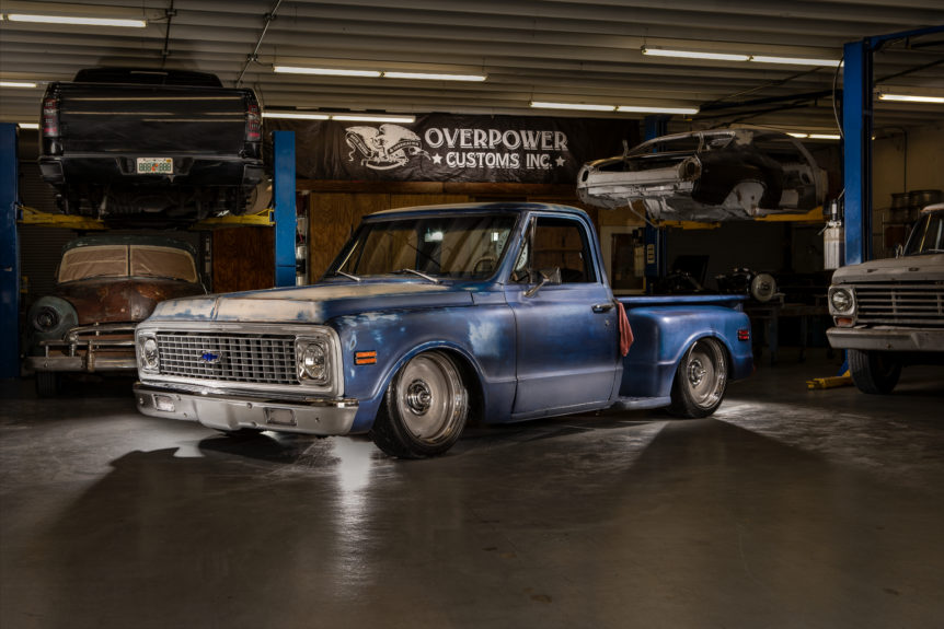 1971 chevy c10, 1971 chevrolet, 1971 chevy, 1971 c-10, c10, c-10, chevy, classic chevy, chevrolet, overpower customs, overpower, customs, custom truck, street trucks, air ride, detroit steel wheels, detroit steel, steelies, patina trucks, patina truck, patina, blue truck, custom built, wood pickup bed,