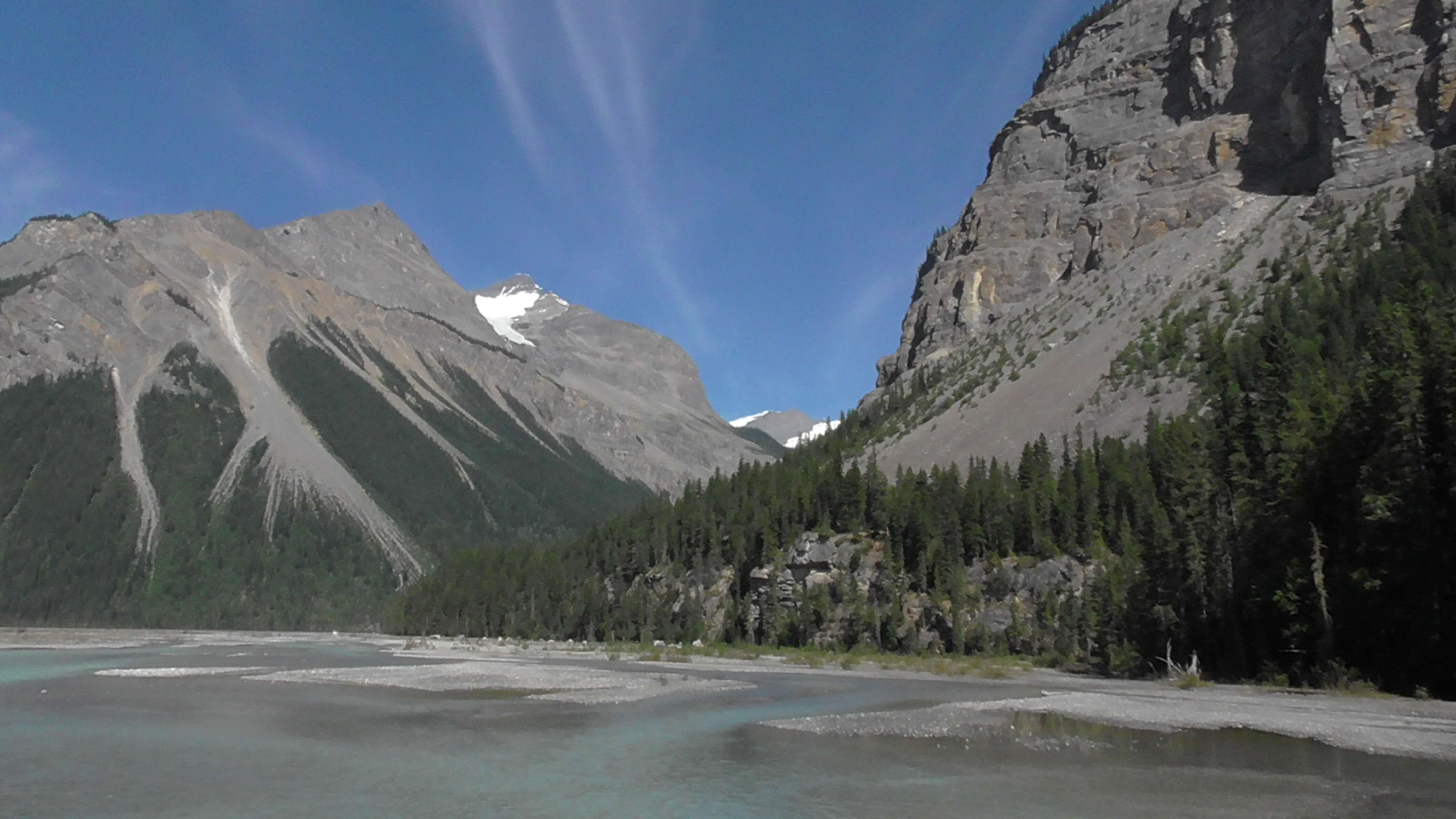 Glacier melt water flowing into Kinney Lake, Mount Robson Provincial Park, BC