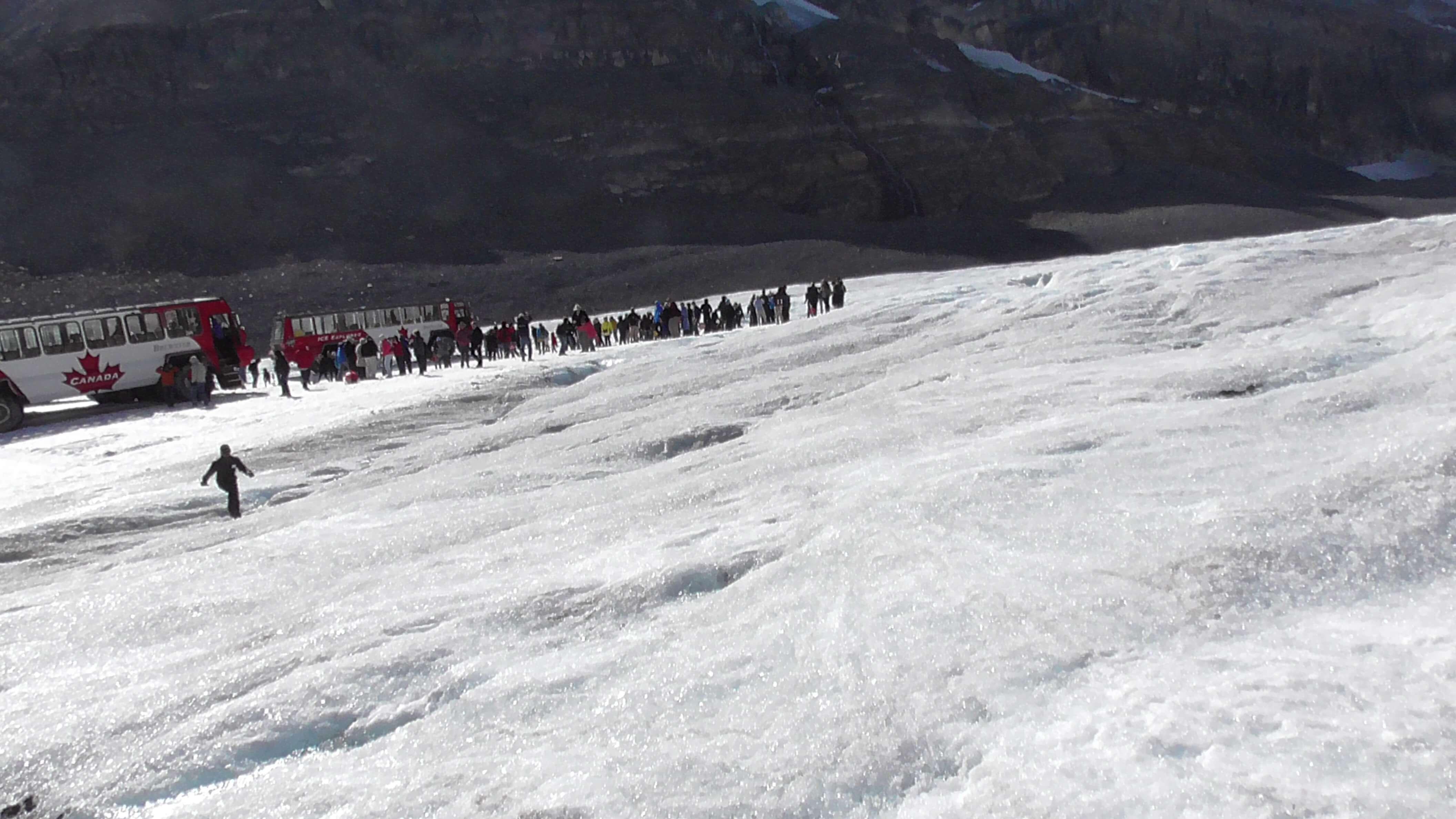 Slightly irate guide on Athabasca Glacier, Jasper National Park, Alberta