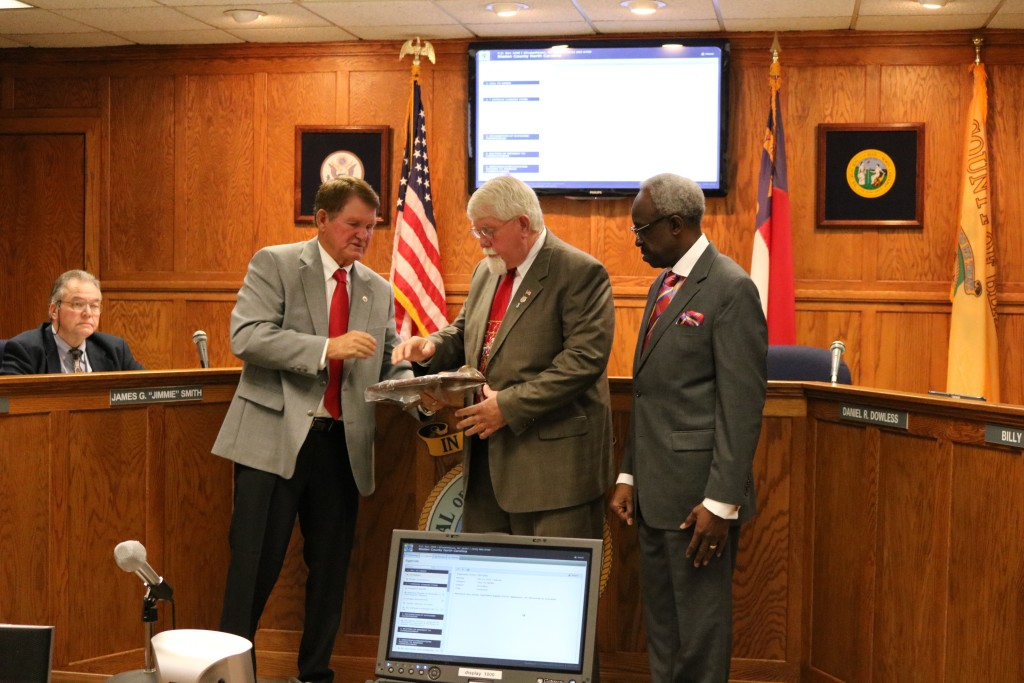 Bladen County Commissioners present Charles Peterson
