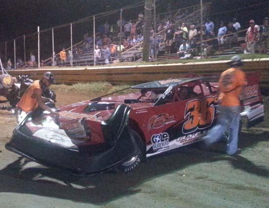 Jeremy Cumbee's Late Model car damaged