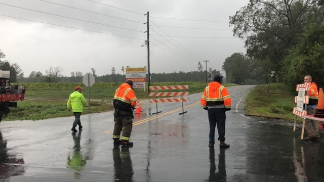Hurricane Florence NC 210 and NC 41 Barricade