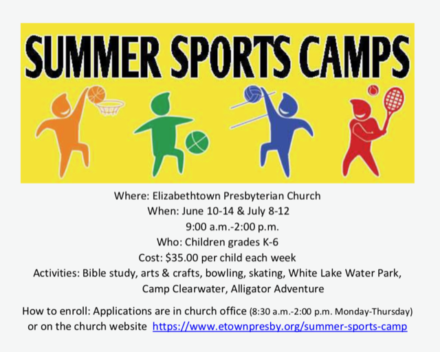 Summer sports camp June 20