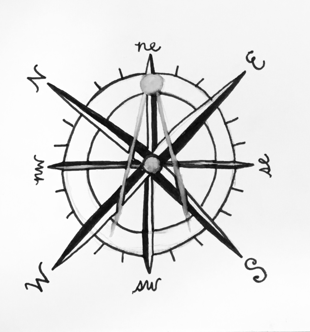 Sketched image of a map compass with a geometric compass inlaid.