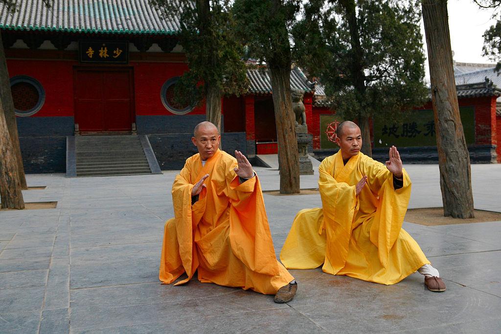 Shaolin Temple Grandmasters Shi DeRu (Shawn Xiangyang Liu) and Shi DeYang (Shi WanFeng) Photo by: Shi Deru (a.k.a. Shawn Xiangyang Liu)