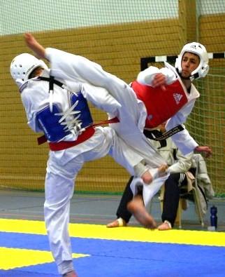 World Taekwondo Federation sparring match  Photo by: Stefan Pettersson, Wikimedia Commons
