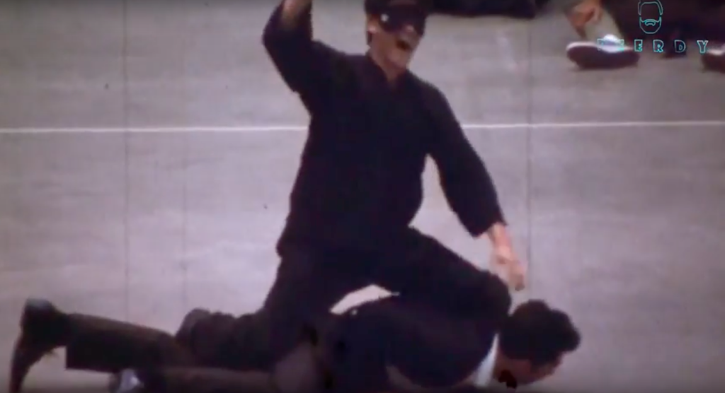 A blindfolded Bruce Lee bests a karate master. Source: Beerdy - Bruce Lee Central's YouTube Channel