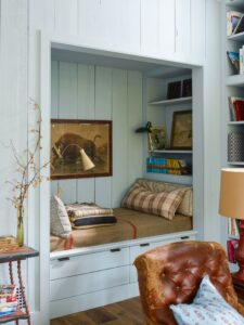 cozy and charming cabin reading nook