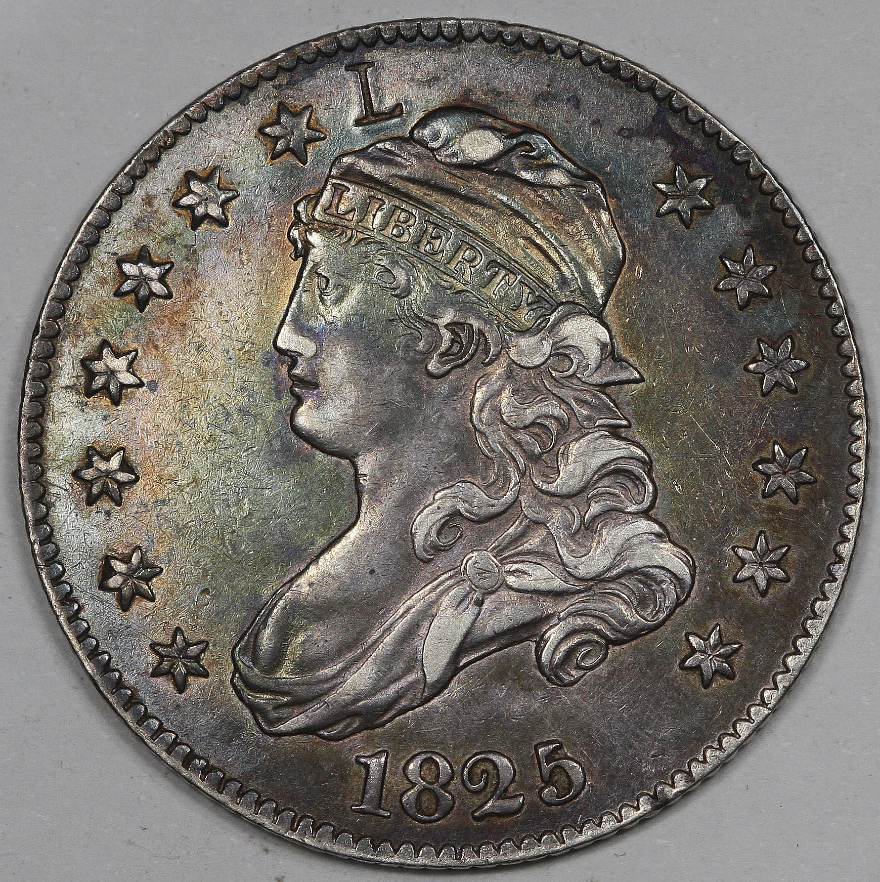 """1825/3 Bust Quarter """"L"""" Counterstamp"""