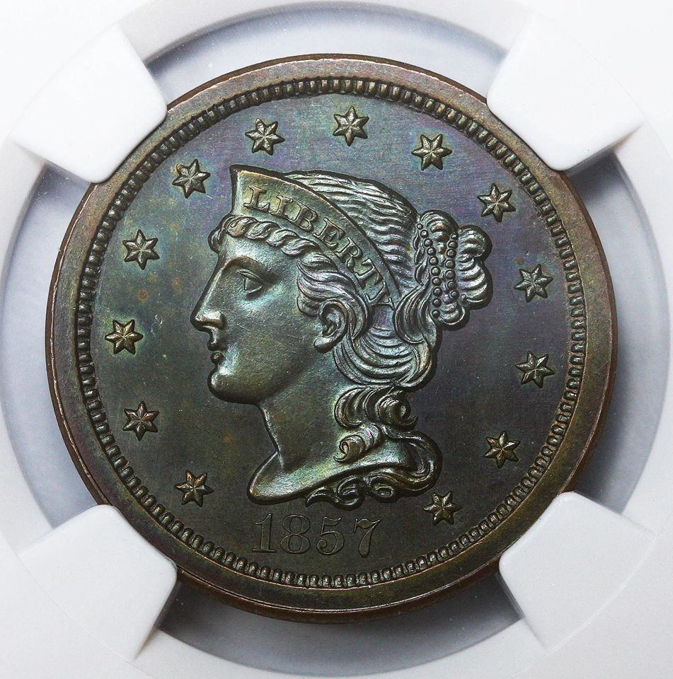 1857 Proof Braided Hair Large Cent