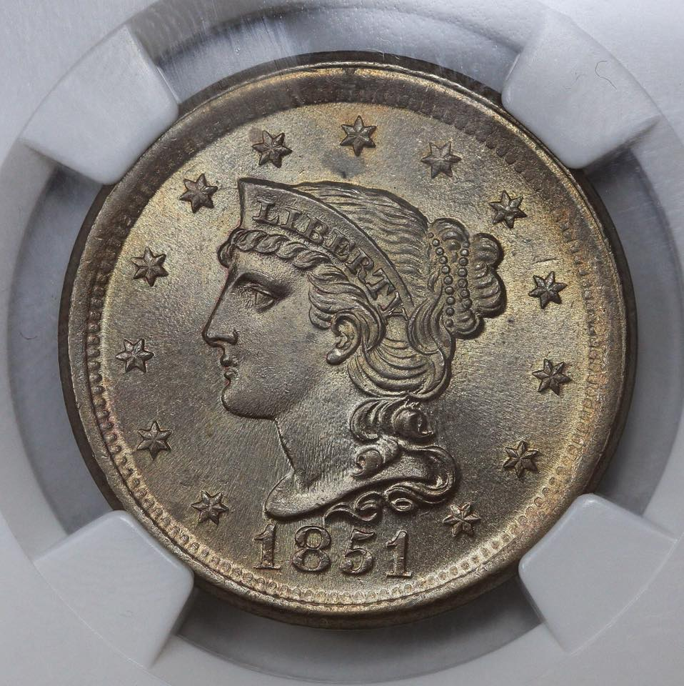 1851 Braided Hair Large Cent NGC MS67*