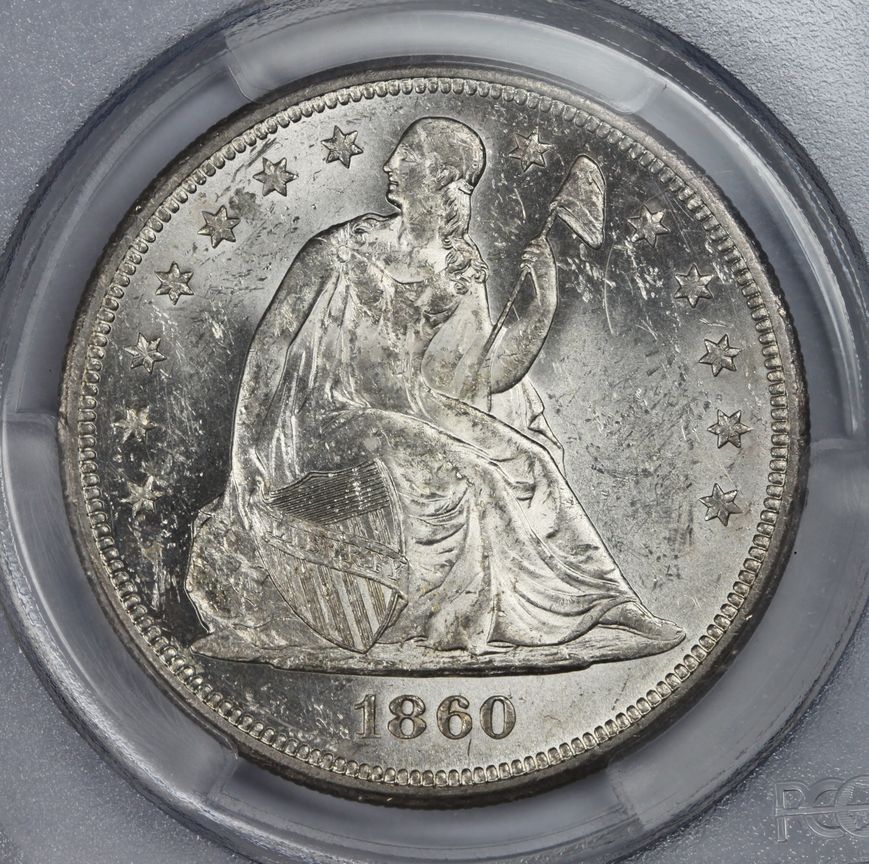 1860 O Seated Dollar In MS62 PCGS