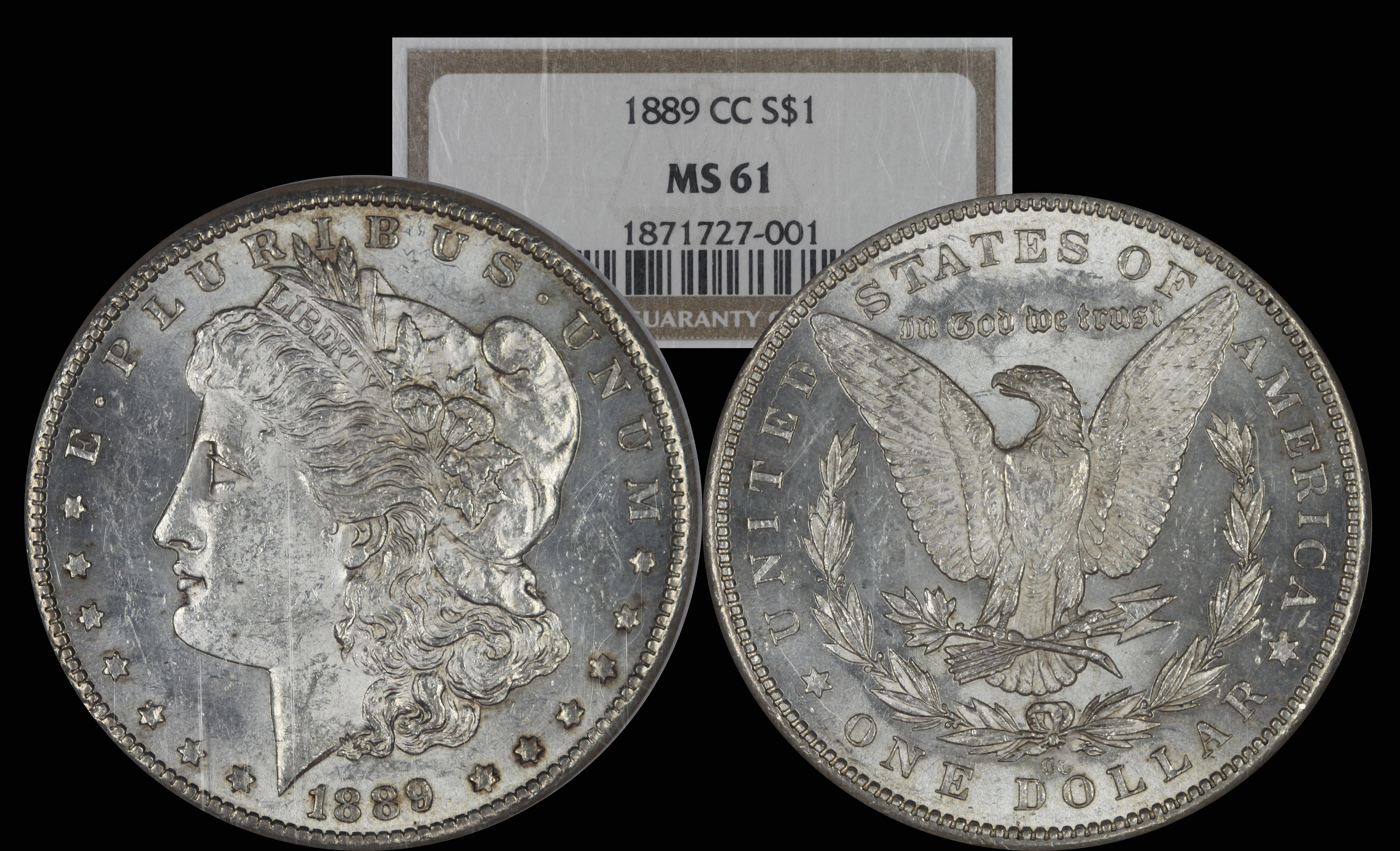 1889 CC Morgan Silver Dollar NGC MS61
