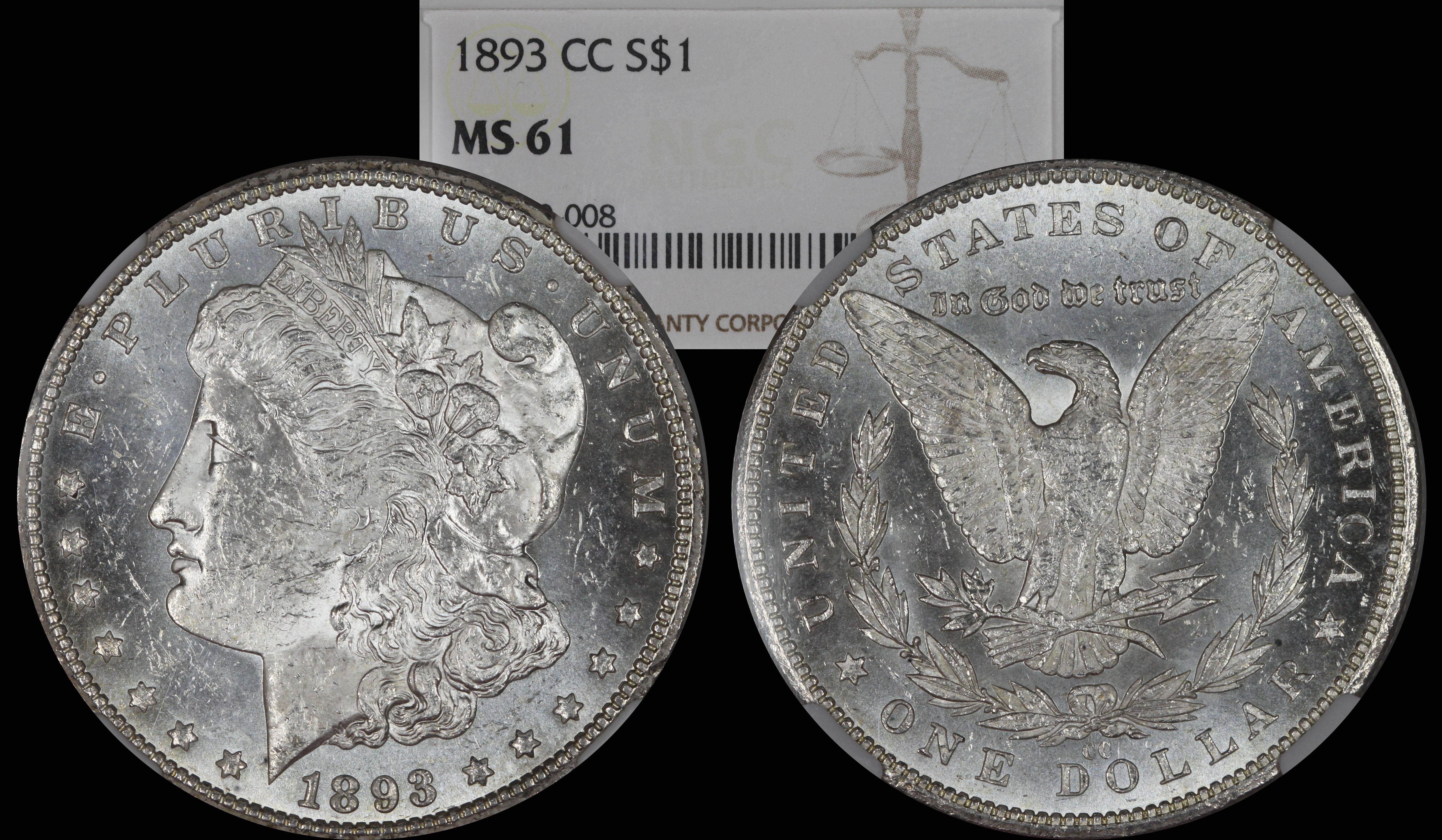1893 CC Morgan Silver Dollar NGC MS61