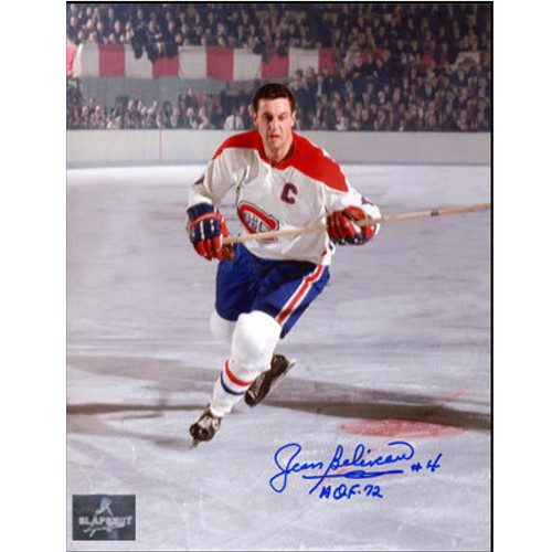 Jean Beliveau Canadiens Captain Signed 8x10 Action Photo