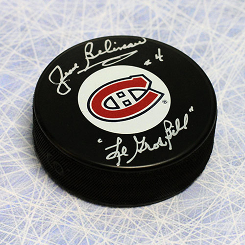 Jean Beliveau Puck Montreal Canadiens Signed Puck with Le Gros Bill Note