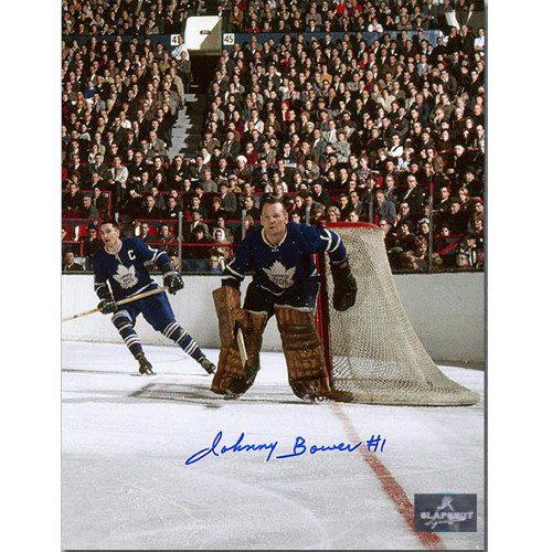 Johnny Bower Toronto Maple Leafs Signed 8x10 Maple Leaf Gardens Photo
