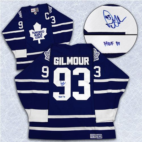 Doug Gilmour Signed Jersey Vintage Toronto Maple Leafs with HOF 11 Inscription