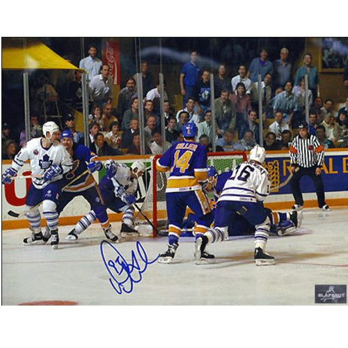 Doug Gilmour Behind the Net Leafs Signed 8x10 Playoff Wrap Around Goal Photo|Doug Gilmour Toronto Maple Leafs Signed 8x10 Playoff Wrap Around Goal Photo