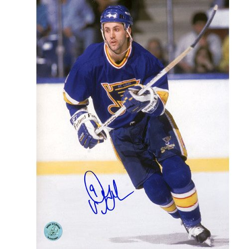 Doug Gilmour Rookie Photo St. Louis Blues Signed Blue Jersey 8x10