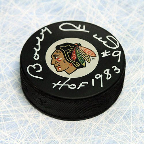Bobby Hull Blackhawks Signed Hockey Puck with HOF Inscription