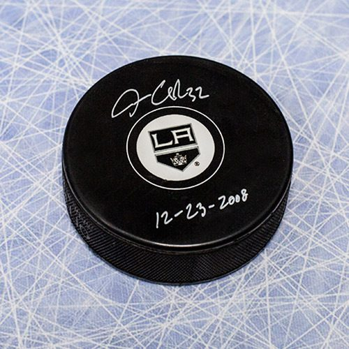 Jonathan Quick Signed Puck-LA Kings 1st Shut Out Note