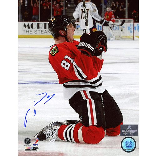 Marian Hossa Chicago Blackhawks Signed Goal 8x10 Photo