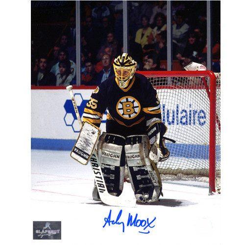 Andy Moog Autograph Boston Bruins 8X10 Goalie Photo