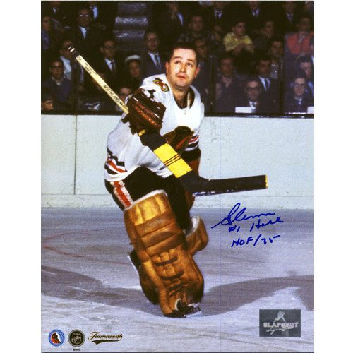 Glenn Hall Signed Picture Chicago Blackhawks Goalie Save 8X10