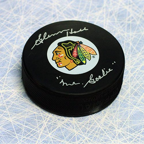 Glenn Hall Signed Puck-Chicago Blackhawks-Mr Goalie note