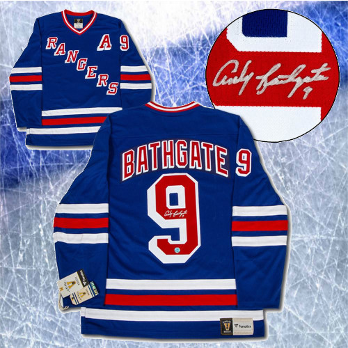 Andy Bathgate New York Rangers Signed Fanatics Vintage Hockey Jersey