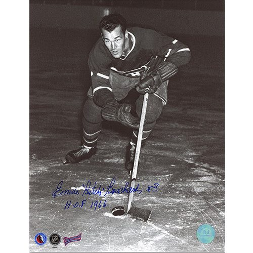 Butch Bouchard Montreal Canadiens Autographed Skating Action 8x10 Photo