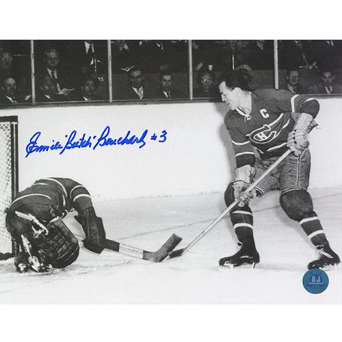 Butch Bouchard Montreal Canadiens Autographed Action 8x10 Photo