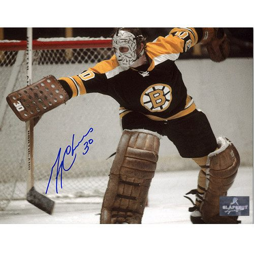 Gerry Cheevers Goalie Action Signed Photo-Boston Bruins 8x10