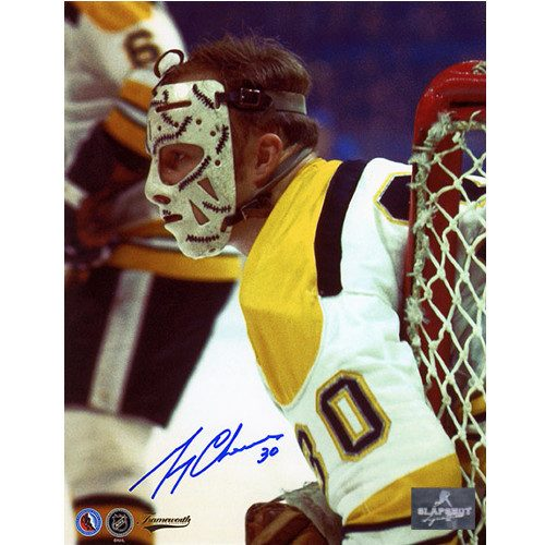 Gerry Cheevers Signed Photo-Boston Bruins Close-Up in Early Mask 8x10